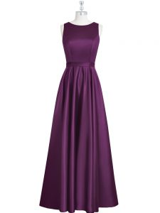 Romantic Eggplant Purple Pageant Dress for Teens Prom and Party and Military Ball with Ruching and Pleated Scoop Sleeveless Backless