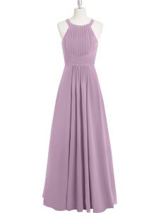 Deluxe Sleeveless Floor Length Ruching Zipper Pageant Dress Womens with Purple