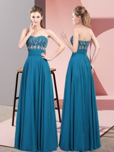 Eye-catching Strapless Sleeveless Chiffon Pageant Dress for Teens Beading Lace Up