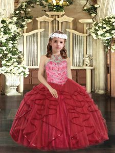Dramatic Red Lace Up Halter Top Beading and Ruffles Flower Girl Dresses for Less Tulle Sleeveless