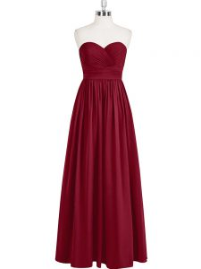 Comfortable Wine Red Empire Sweetheart Sleeveless Chiffon Floor Length Zipper Pleated Custom Made Pageant Dress