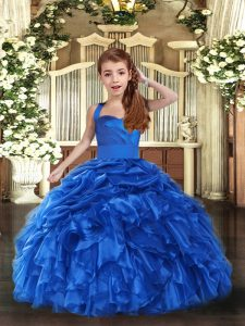 Royal Blue Sleeveless Floor Length Ruffles Lace Up Pageant Gowns