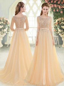 Simple Scoop 3 4 Length Sleeve Tulle Pageant Dress Wholesale Beading Sweep Train Zipper