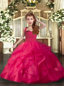 Sleeveless Floor Length Ruffles and Ruching Lace Up Glitz Pageant Dress with Coral Red
