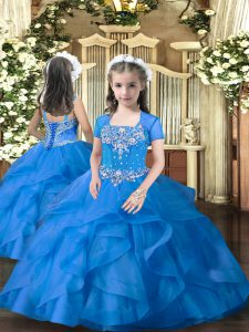 Graceful Blue Sleeveless Floor Length Beading and Ruffles Lace Up Pageant Dresses