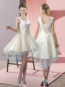 Stunning White V-neck Neckline Lace and Bowknot Winning Pageant Gowns Sleeveless Lace Up
