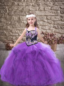 Purple Evening Gowns Party and Wedding Party with Embroidery and Ruffles Straps Sleeveless Lace Up
