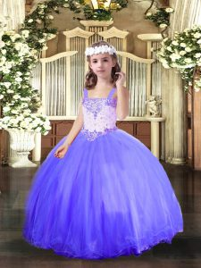 Latest Sleeveless Tulle Floor Length Lace Up Toddler Flower Girl Dress in Blue with Beading