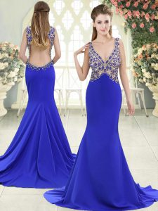 Blue Pageant Dress Elastic Woven Satin Sweep Train Sleeveless Beading