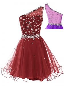 A-line Pageant Dress for Womens Wine Red One Shoulder Tulle Sleeveless Mini Length Side Zipper
