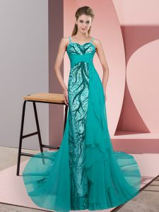 Pretty Teal Spaghetti Straps Neckline Beading and Lace Winning Pageant Gowns Sleeveless Zipper