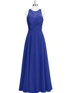 Royal Blue Chiffon Zipper Scoop Sleeveless Floor Length Winning Pageant Gowns Lace