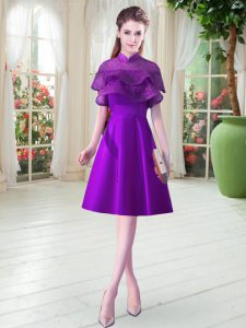 Charming Ruffled Layers Pageant Dress for Girls Eggplant Purple Lace Up Cap Sleeves Knee Length