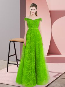 New Arrival Sleeveless Tulle Floor Length Lace Up High School Pageant Dress in Green with Beading
