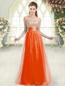 Perfect Orange Red Tulle Lace Up Pageant Dresses Sleeveless Floor Length Beading
