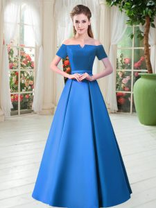 Custom Design Belt Evening Gowns Blue Lace Up Short Sleeves Floor Length