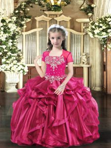 Fantastic Floor Length Hot Pink Evening Gowns Straps Sleeveless Lace Up