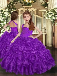 Purple Sleeveless Floor Length Ruffles Lace Up Pageant Gowns
