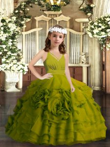 Sleeveless Organza Floor Length Zipper Pageant Dress for Girls in Olive Green with Ruffled Layers