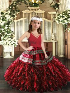 Red Ball Gowns V-neck Sleeveless Organza Floor Length Zipper Appliques and Ruffles Glitz Pageant Dress
