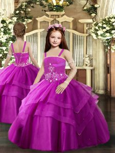 Most Popular Ball Gowns Pageant Dress Wholesale Fuchsia Straps Tulle Sleeveless Floor Length Lace Up