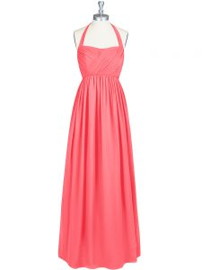 Sleeveless Chiffon Floor Length Zipper Pageant Dress for Womens in Watermelon Red with Ruching