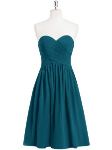 Teal Sweetheart Neckline Pleated Pageant Dress for Womens Sleeveless Zipper