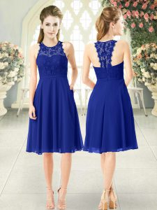 Elegant Sleeveless Knee Length Lace Zipper Pageant Gowns with Royal Blue
