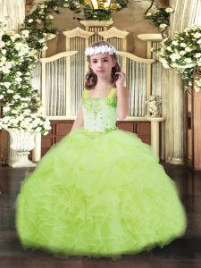 Amazing Floor Length Yellow Green Little Girls Pageant Dress Straps Sleeveless Lace Up