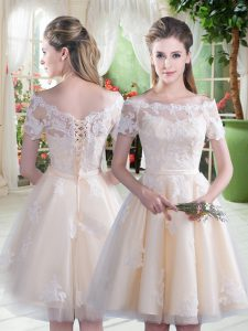 Champagne Tulle Lace Up Off The Shoulder Short Sleeves Knee Length Evening Gowns Lace