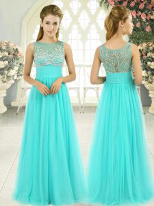 Top Selling Floor Length Aqua Blue Pageant Dress for Teens Tulle Sleeveless Beading