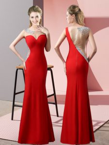 Modern Red Mermaid Beading and Pick Ups Pageant Dress for Womens Zipper Satin Sleeveless Floor Length