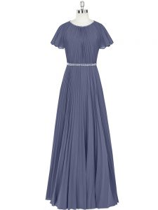 Trendy Blue Short Sleeves Chiffon Zipper Pageant Dress for Girls for Prom and Party and Military Ball