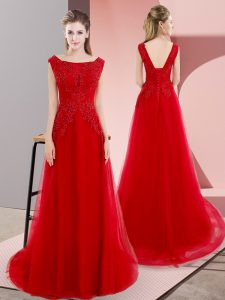 Flirting Sweep Train Empire Pageant Dress Wholesale Red Bateau Tulle Sleeveless Lace Up
