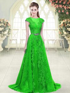 Modern Green A-line Tulle Scoop Cap Sleeves Beading and Lace and Pick Ups Zipper Winning Pageant Gowns