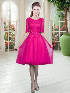 Tulle Half Sleeves Knee Length Pageant Dress for Teens and Lace