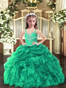 High End Green Sleeveless Floor Length Beading and Ruffles Lace Up Pageant Gowns