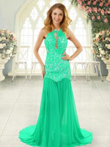 Turquoise Sleeveless Chiffon Brush Train Backless Pageant Dress for Girls for Prom and Party