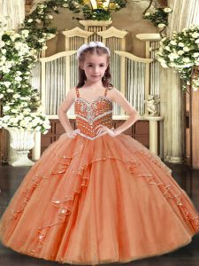 Peach Ball Gowns Beading Kids Formal Wear Lace Up Tulle Sleeveless Floor Length