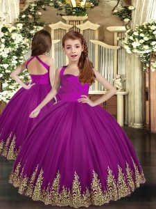 Purple Tulle Lace Up Pageant Dress for Girls Sleeveless Asymmetrical Embroidery