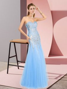 New Arrival Blue Pageant Dress for Teens Prom and Party with Beading Sweetheart Sleeveless Zipper