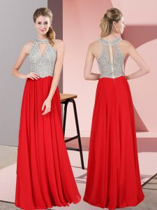 Scoop Sleeveless Zipper Pageant Dress for Womens Red Satin