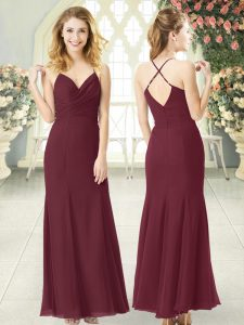 Top Selling Burgundy Spaghetti Straps Zipper Ruching High School Pageant Dress Sleeveless