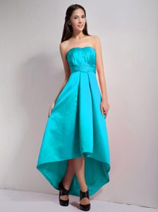 Cheap Strapless High-low Aqua Blue Taffeta Ruched Pageant Dress with Appliques