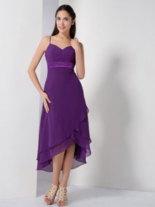 Spaghetti Straps Layered High-low Eggplant Purple Chiffon Prom Pageant Dress