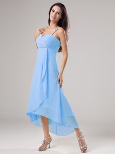 Pretty Baby Blue Spaghetti Straps High-low Ruched Chiffon Prom Pageant Dress