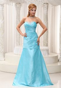 Aqua Blue Sweetheart Floor-length Ruched Taffeta Pageant Dresses with Beading