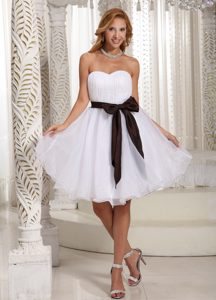 White Sweetheart Knee-length Ruched Organza Pageant Dress with Brown Sash