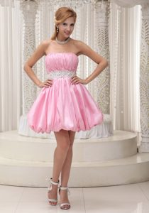 Baby Pink Ruched Strapless Mini-length Taffeta Pageant Dresses with Appliques