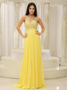 Yellow Pleated and Beaded Pageant Dress for Girls with Sweetheart Neckline